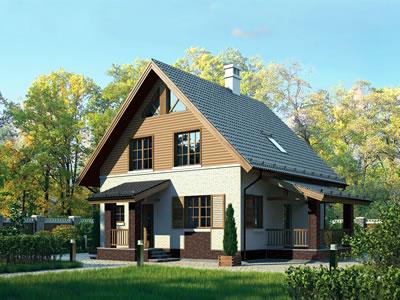 Облицовка фасада - BERG Серый, сайдинг Blockhaus карамель. Цоколь - BERG Коричневый